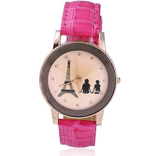 Ladies Champagne Analog Eiffel Tower Lovers Watch F0007