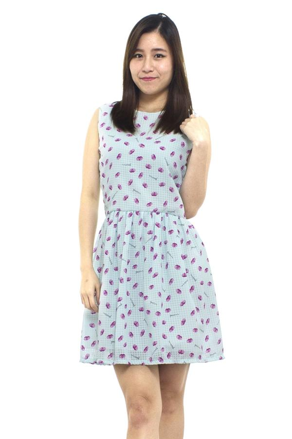 [LadiesRoomFashion] Passion Kiss Printed Flare Dress