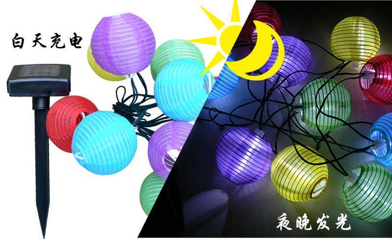 Lantern Ball Solar String Lights 10 LED Solar Lamp Glim Scaldfish
