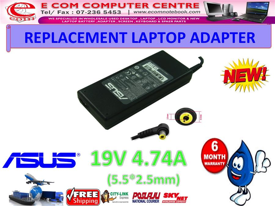 LAPTOP ADAPTER FOR ASUS SERIES 19V 4.74A (5.5MM*2.5MM)