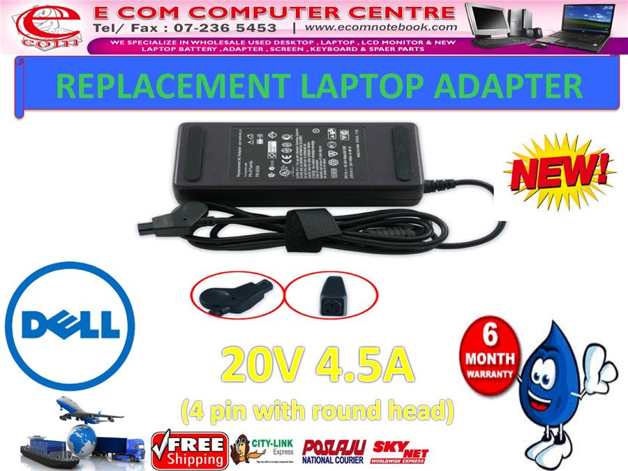 LAPTOP ADAPTER FOR DELL SERIES 20V 4.5A (4 PIN WITH ROUND HEAD)