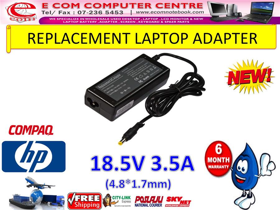 LAPTOP ADAPTER FOR HP/COMPAQ SERIES 18.5V 3.5A (4.8MM*1.7MM)