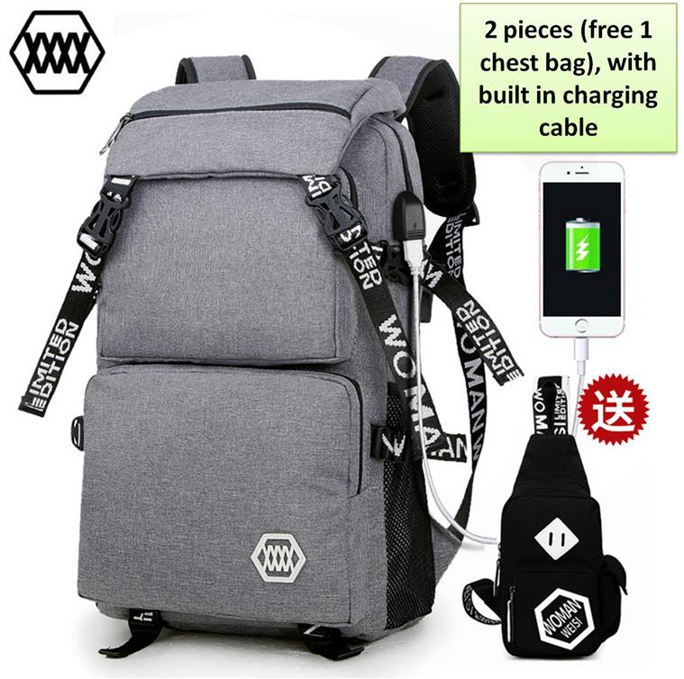 Laptop backpack bag set A6/with USB Charging Cable/Ready Stock
