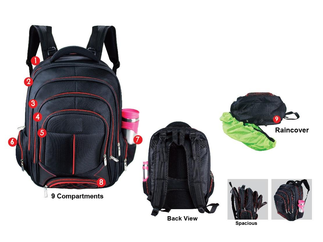 Laptop Back pack with 9 Compartments
