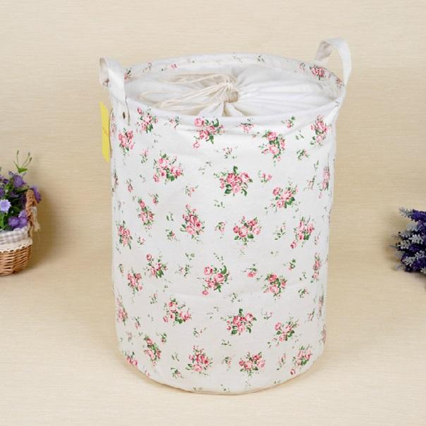 Large Canvas Round Storage Basket (Country Style Flowers)