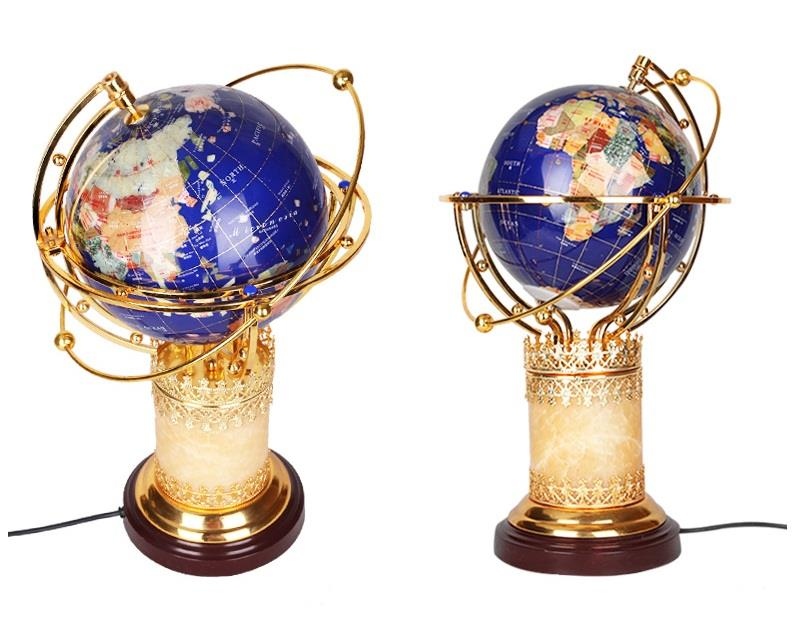 LARGE STONE INLAID ROTATING GLOBE WITH LIGHT