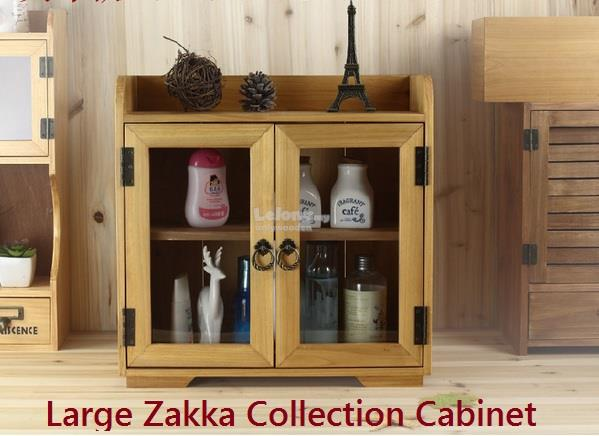 Large Zakka Wooden Cabinet, Retro Storage, Collection Box, Rack