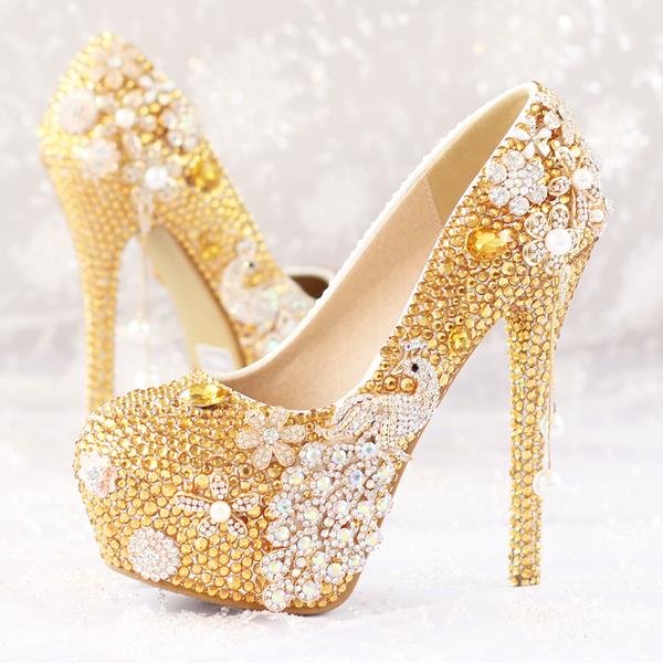 LATEST-GOLDEN PHOENIX PEARL BRIDAL DIAMOND WEDDING SHOES FOR SALES