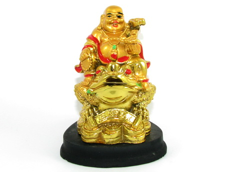 Laughing Buddha Holding Ruyi on Money Frog for Happiness and Wealth