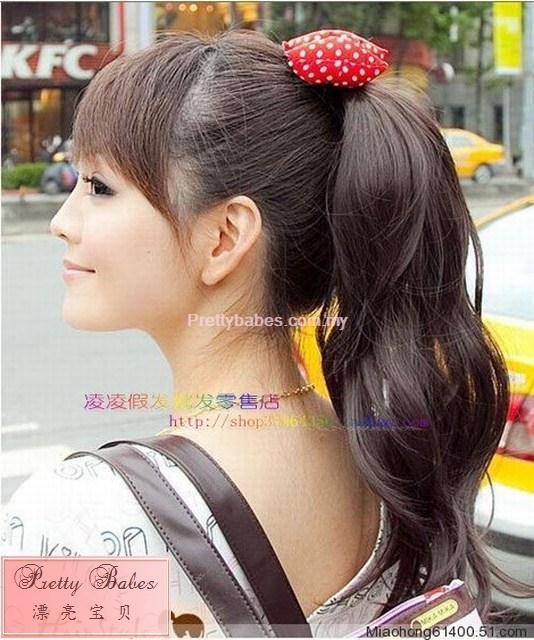 anime girl with brown hair in ponytail. 100% Human Hair Ponytail Curly