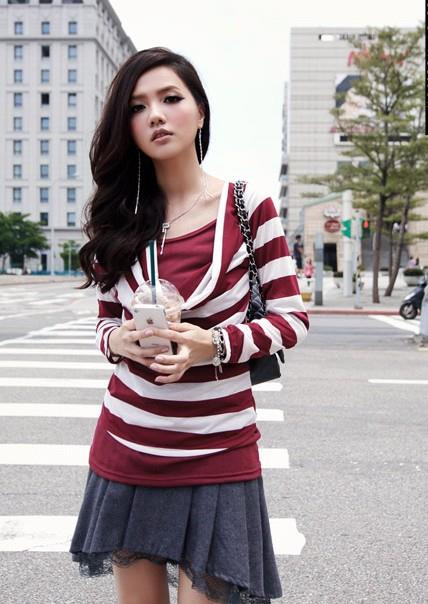 Layered-look Stripe Long-Sleeve Blouse (Red)