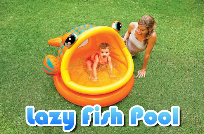 Lazy fish pool with pump