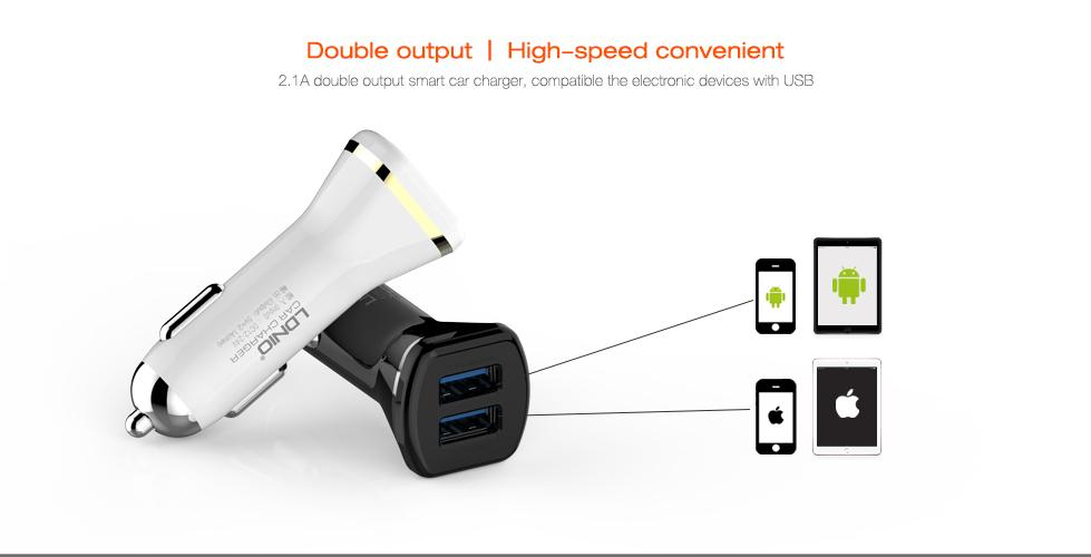 LDNIO (DL-DC219) 2.1A DUAL PORT USB CAR CHARGER + MICRO USB CABLE