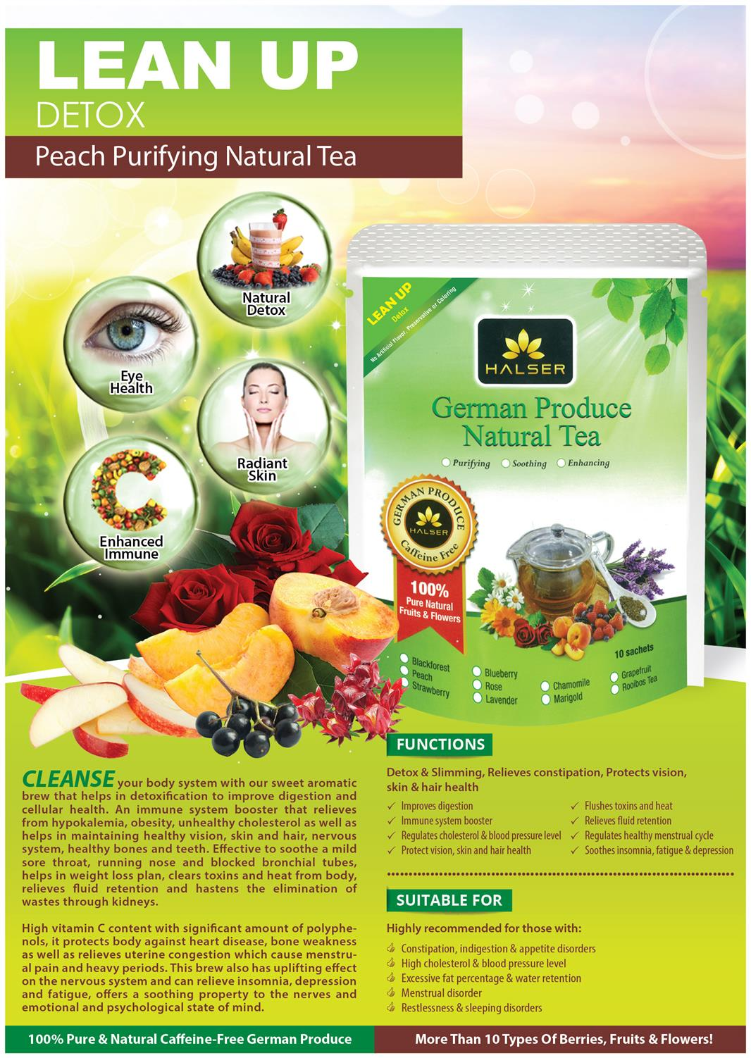 LEAN UP Detox Peach Purifying Caffeine Free German Fruit Tea