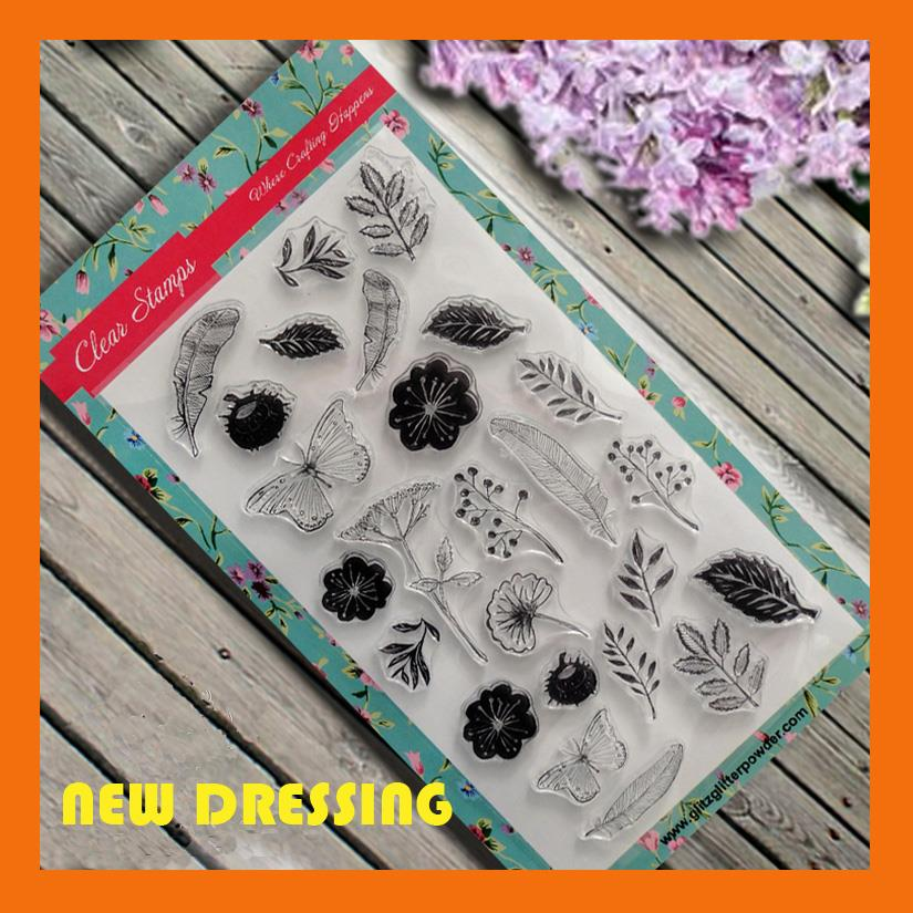 Leaves and Flower Clear Stamp - Zakka/Diary/Photobook DIY