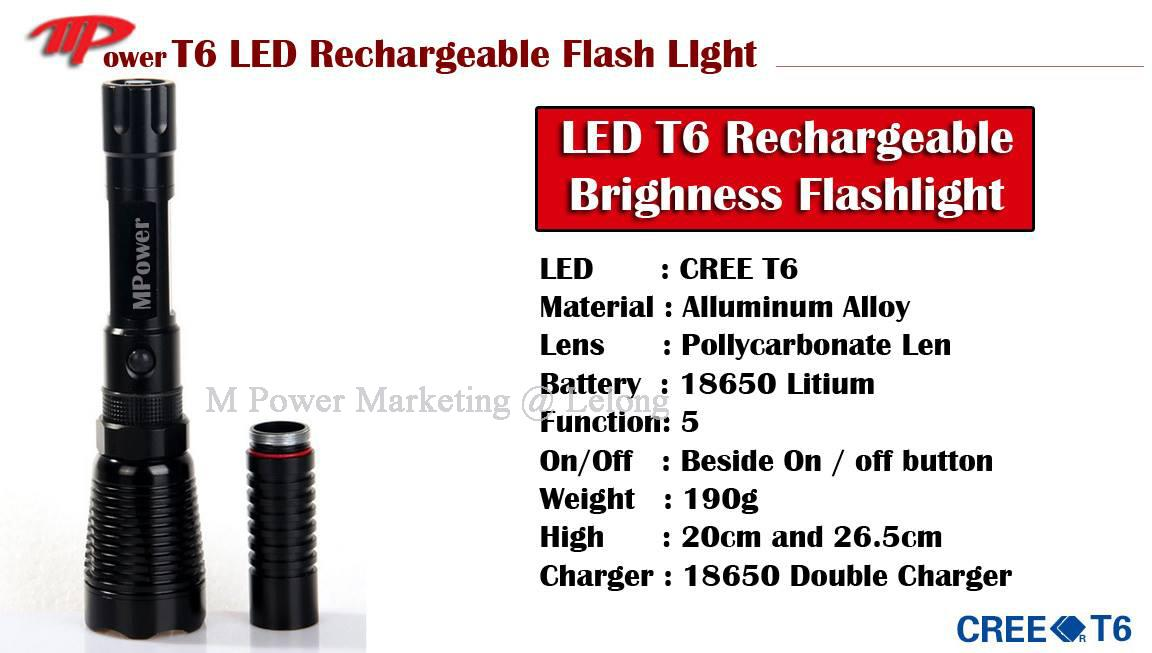 LED Flashlight Torchlight Waterproof Torch Light LEDT6 Cree -SKU T02