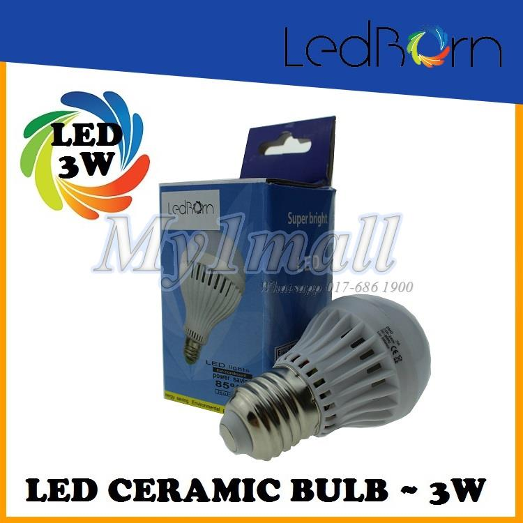 LedBorn LED Bulb Ceramic Body 3W E27 Daylight (White)