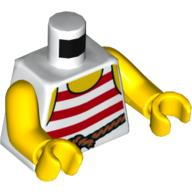 LEGO Loose Minifigure Body Parts White / Red Stripe Torso NEW 2X