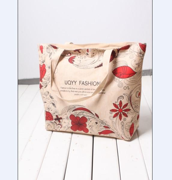 Leisure High-Capacity Letter Flower Printed Canvas Handbag Red