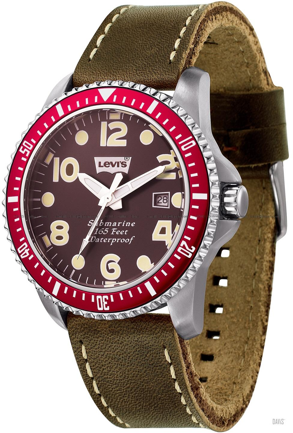 LEVI'S TIME LTJ0202 CORE analog submarine date leather strap brown