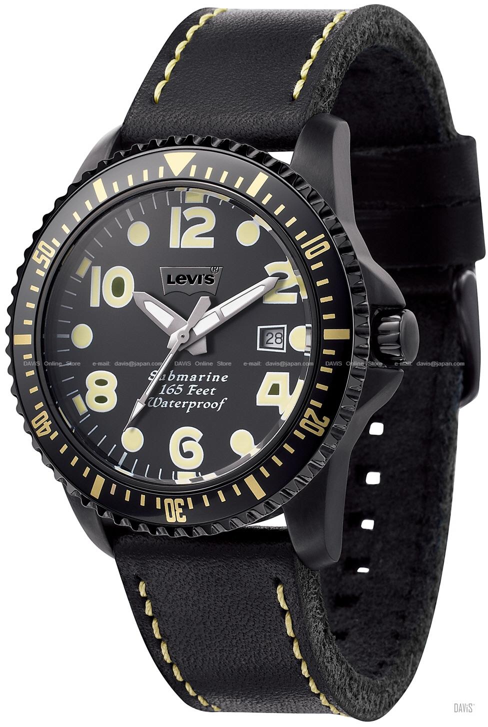 LEVI'S TIME LTJ0205 CORE analog submarine date leather strap black