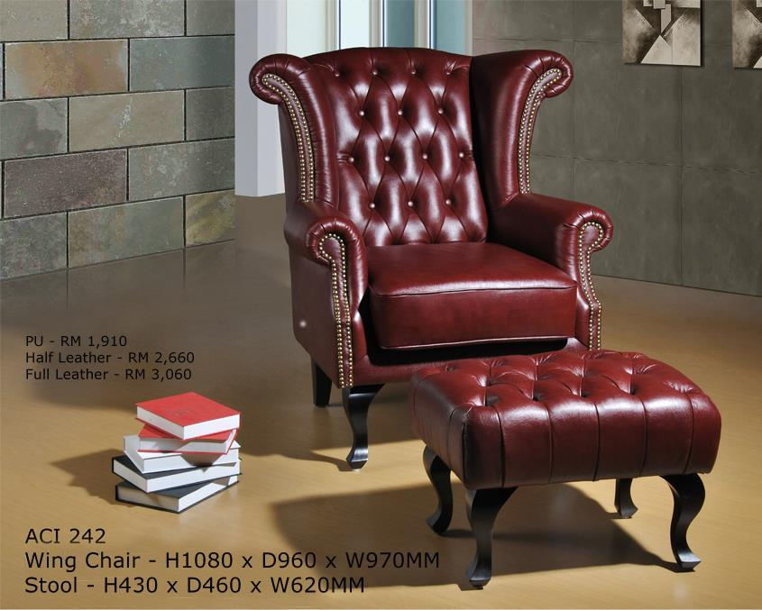 Lexington full leather chesterfield wing chair aci 242 itemid
