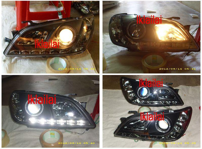 LEXUS ALTEZZA IS200 IS300 DRL Projector Head Lamp [Black/Chrome Housin