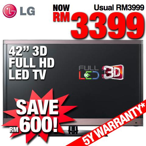 LG 42� Full HD Smart 3D LED TV (42LW5700) + 9 FREE 3D Glasses #