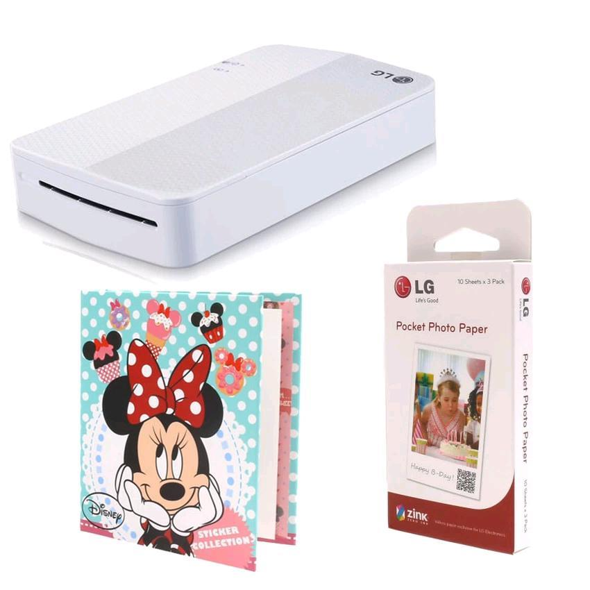 LG WiFi Pocket Photo Printer PD251 (White) + Accessories