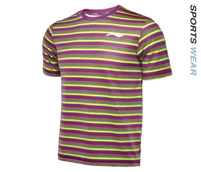 Li-Ning Men RN TEE - Purple/Lime -ATSL395-1