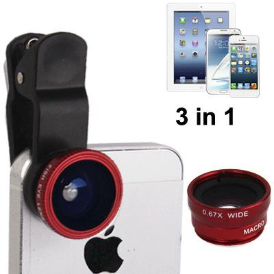 LIEQI 3 in 1 Photo Lens Universal Clip Lens - Fisheye+WideAngle+Macro