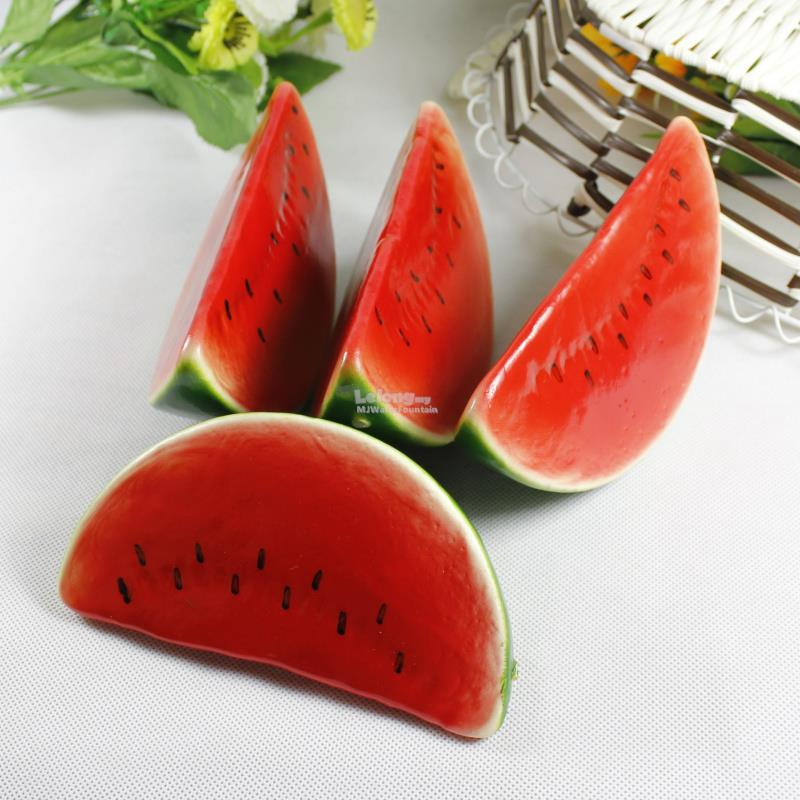 Life-sized Artificial Watermelon Slices home cabinet Decor (Set of 4)