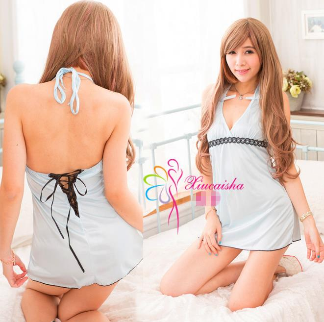 Light Blue Ice Silk Babydoll Dress + G-string  Sleepwear Lingerie