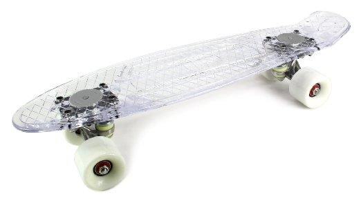 Light Up Clear Waffle Cruiser Complete 22' Banana Skateboard