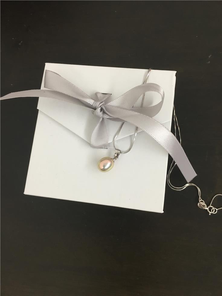 Light Peach Pearl Pendant + S925 Silver Necklace
