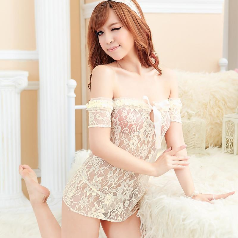 Light Yellow Lace Babydoll Dress + G-string Lingerie Sleepwear