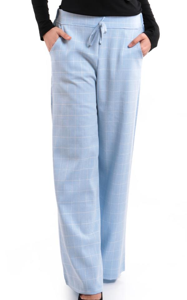 Lily Palazzo Checkered Pant S385-Blue