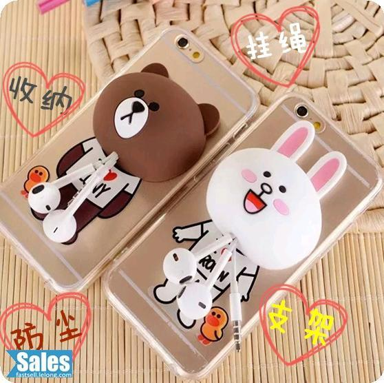 Line Character iPhone Casing Case Cover Cable Management