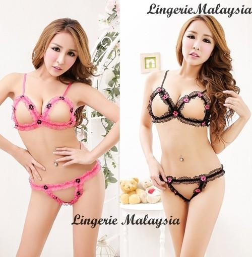 LM2297 Sexy Open Breast Bra Set + G-string (2 Colors)