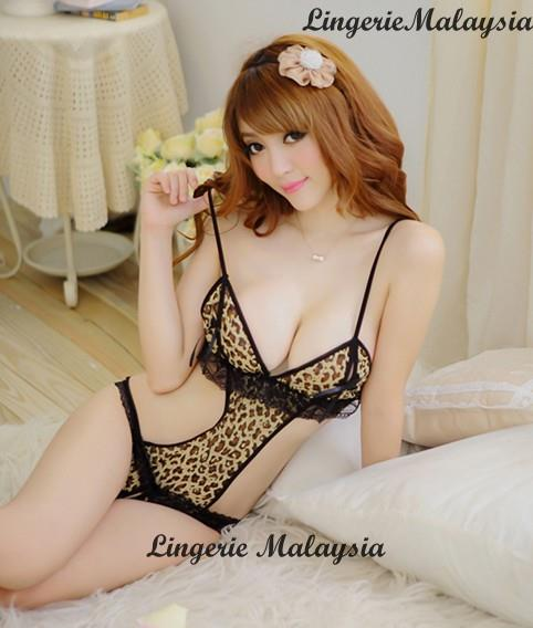 LM5077 Leopard Sexy Teddy Crotch-Less Lingerie Nightwear Sleepwear
