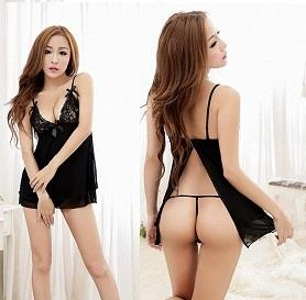 LM5548 Sexy Short Lingerie Open Back Nightwear Sleepwear Fits XL Size