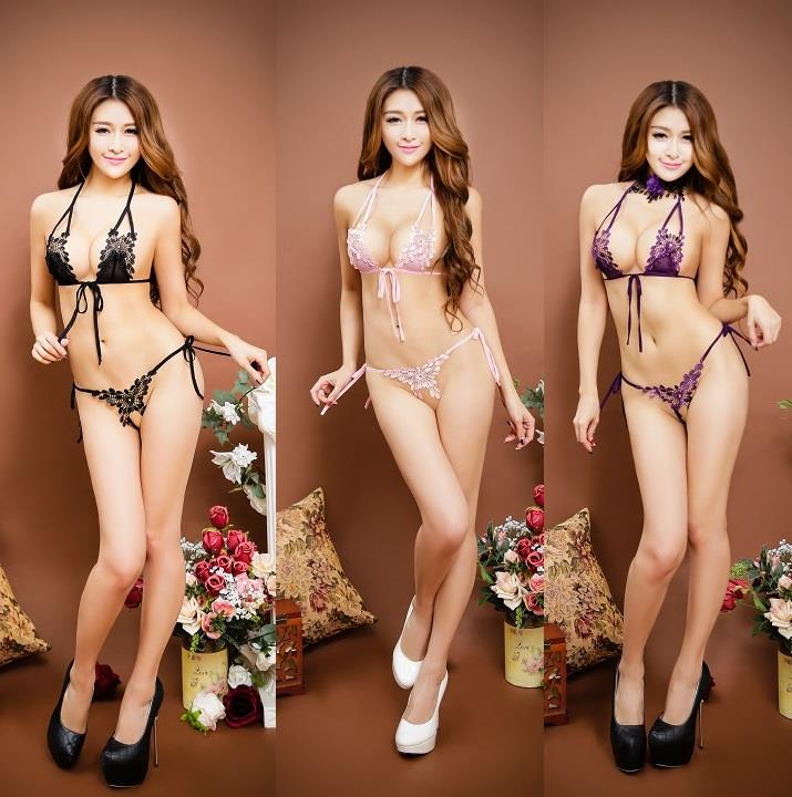 LM7202 Sexy Bra Set Crotch-less Fits XL Size (3 Colors)