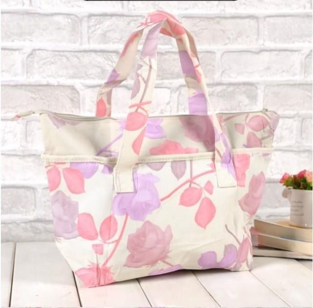 LOCCITANE CANVAS FLORAL TOTE LUNCH BAG NEW