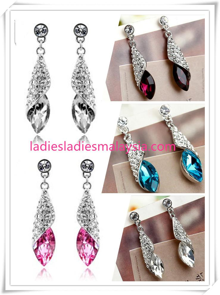 Long Crystal Water Drop / Tear Dangle Earrings
