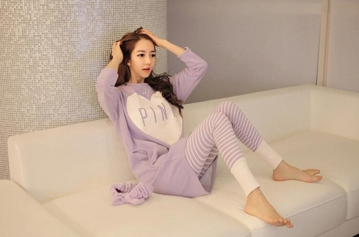 long sleeve pajamas ladies sweet sleepwear shirt & pants pyjamas