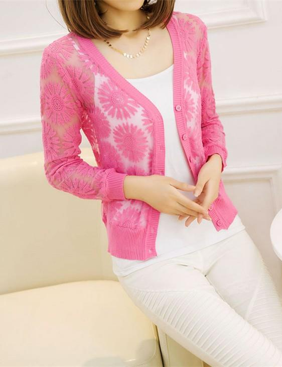 Long-sleeve Sunflower Thin Knit Jacket