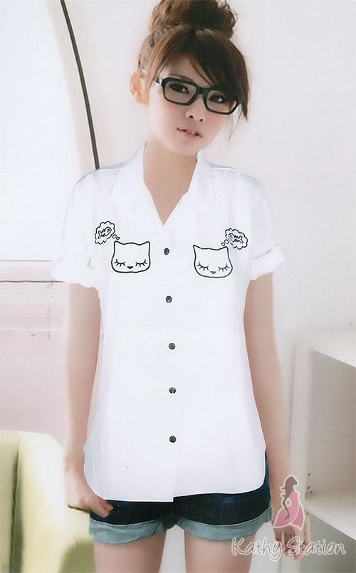 Long Sleeves Collar Blouses (Cat) [10136C]