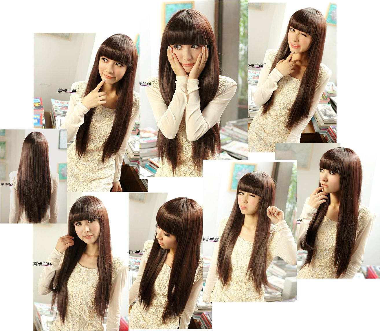 Long straight wig*Nov8-ready stock-rambut palsu /promotion deal