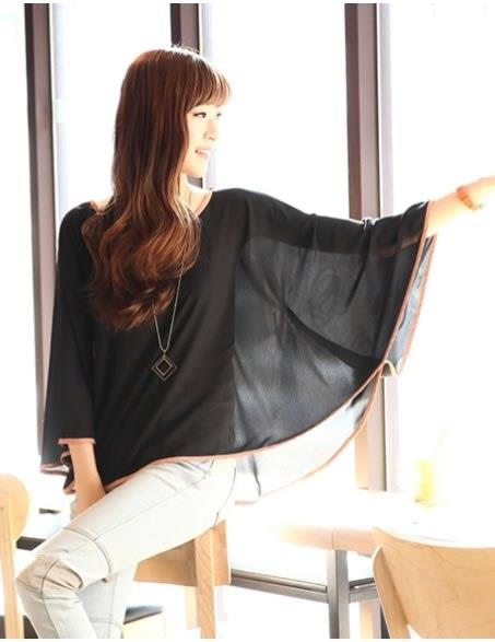 Loose Chiffon Long Sleeve Blouse (Black)