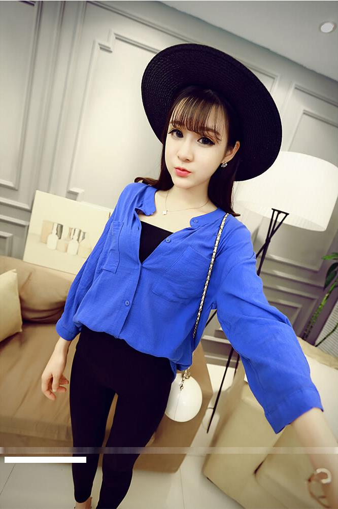 Loose Double Pocket Long Sleeve Shirt (Blue)